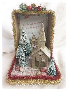 Glitter For Slime Christmas Booth, Christmas Shadow Boxes, Christmas Craft Fair, Christmas Town, Christmas Scenes, Retro Christmas, Holiday Crafts, Christmas Ornaments, Christmas Glitter