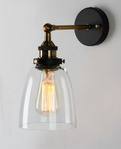 Vintage Industrial Country Style Wall Sconce Light Wall Lamp With Glass Shade #TWOFACES #Country