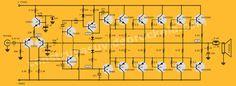 Al igual que en nuestro Amplificador híbrido de éste amplificador está diseñado con refrigeración de tipo túnel. Basic Electronic Circuits, Electronic Circuit Design, Electronic Schematics, Electronic Engineering, Hifi Amplifier, Class D Amplifier, Diy Guitar Amp, Toroidal Transformer, Circuit Board Design