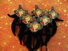 Witch Halloween Vintage Style Feather Tree Ornaments