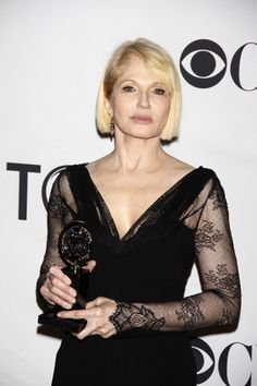 Ellen Barkin shows off her first Tony Award win for The Normal Heart