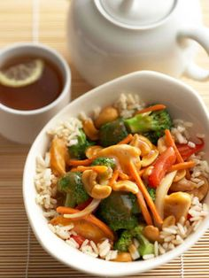 Cashew Chicken (cooked in slow-cooker)  A package of frozen veggies, canned mushrooms and canned soup shorten the prep work in this takeout-style recipe.