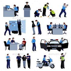 Policeman People Flat Color Icons - Decorative Symbols Decorative