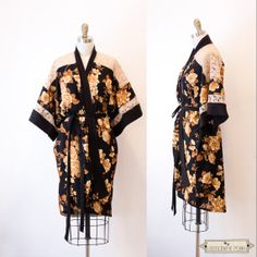 Just in time for Valentine's Day.... Golden Floral Kimono robe  OOAK Eco by SimonesRoseBoutique on Etsy, $79.00