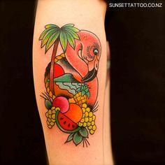 Tom traditional flamingo tattoo, tropical tattoo, colour tattoo, best NZ tattoo by Sunset Tattoo in Auckland City #sunsettattoo
