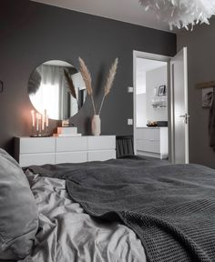 Grey Bedroom Design, Modern Bedroom Decor, Room Ideas Bedroom, Living Room Decor, Bedroom Styles, Minimalist Bedroom, Dream Rooms, Luxurious Bedrooms, House Rooms