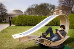 """This is an outdoor """"rocker"""" from MIT that uses both solar and kinetic energy (from you rocking) to provide power to USB ports to charge anything from iPads to speakers to cellphones.  Oh, and it's pretty!  I want one SO bad!"""