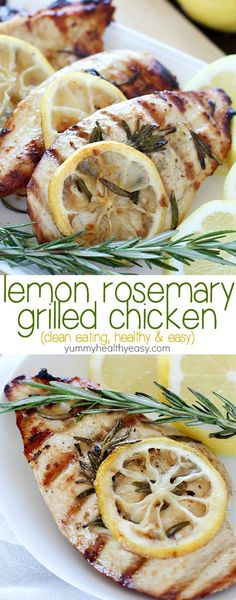 This clean-eating Grilled Lemon Rosemary Chicken recipe is easy to make, healthy and bursting with lemony flavor!