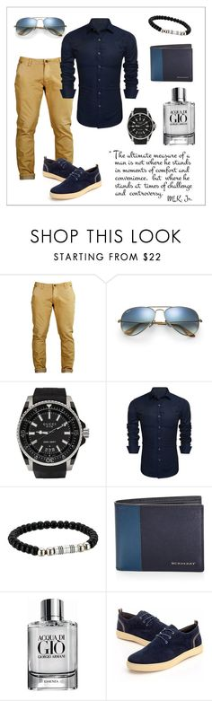 """""""Untitled #247"""" by gyetizsu ❤ liked on Polyvore featuring Ray-Ban, Gucci, Torino Leather Co., Burberry, Giorgio Armani, men's fashion and menswear"""