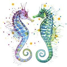 seahorse watercolor tattoo - Google Search