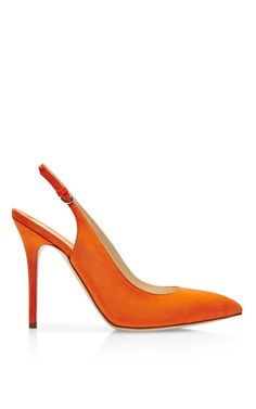 Sweet little shoe. and I love how they show it with a multi colored sheath dress. Liu Suede Slingback Pumps by Brian Atwood - Moda Operandi Orange Pumps, Hot High Heels, Orange Fashion, Fringe Boots, Clearance Shoes, Brian Atwood, Trail Running Shoes, Slingback Pump, Fashion Heels