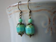 Mint earrings unique handmade glass jewelry by karmelidesigns