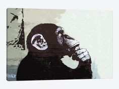"The Thinker Monkey by Banksy Canvas Print 40"" L x 26"" H x 0.75"" D - eWallArt"