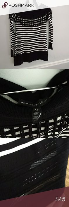 WHBM, new boatneck blouse WHBM, new boatneck blouse, thin, strip blouse, with straps, to wear slightly off shoulder, fringe, and black banding at bottom with raised pattern, soft. White House Black Market Tops Blouses