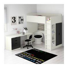 STUVA Komb/poviš krevet+3lad/2vr - bij/cr - IKEA