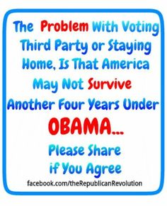 If you don't vote or write in a name that can't win, you vote for Obama and you're an American-hating fool just like the rest of them.