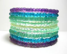 Mint Green,Teal and Purple Memory Wire Bracelet Stacked Wrap Bracelet. $18.00, via Etsy.