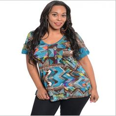 Sexy Womens Plus Size Chevron Tribal Top 2X or 3X New. Starting at $1 on Tophatter.com!