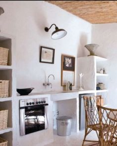 A dreamy summer house in Catalonia… I'm loving the free spirited decor, the simple furniture and materials, and the casual. Küchen Design, House Design, Casa Clean, Concrete Kitchen, Concrete Houses, Tadelakt, Simple Furniture, Rustic Kitchen, Boho Kitchen