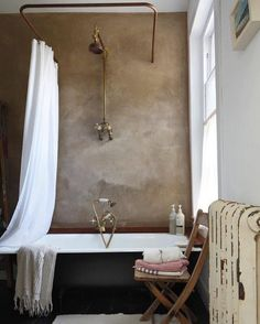 Minimal vintage bathroom with textured walls on Thou Swell Kevin OGara Bad Inspiration, Decoration Inspiration, Bathroom Inspiration, Bathroom Inspo, Decor Ideas, Bathroom Mirrors, Bathroom Lighting, Bathroom Ideas, Home Interior