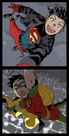 Kon and Tim by Ricken-Art /// Superboy and Robin. The metahuman and the human. They're just good rivals, and good friends.