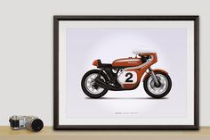 Honda CR750 (Dick Mann) Motorcycle Illustration Poster Print