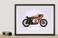 Honda CR750 (Dick Mann) Motorcycle Illustration Poster Print