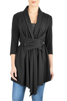 I <3 this Cotton knit button-tabbed jacket from eShakti
