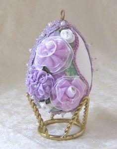 E118 Victorian Lavender Egg Ornament by WhiteHawkOriginals on Etsy, $15.00