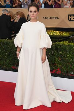 SAG Awards 2017 Best Dressed Celebrities On The Red Carpet: BEST CASE FOR COUTURE MATERNITY CLOTHES If Natalie Portman's white Dior gown doesn't inspire pregnant women everywhere to dress up (and designers to make and sell those dresses), I don't know what will. | coveteur.com