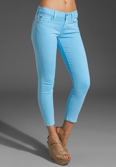 7 FOR ALL MANKIND Crop Skinny in Neon Blue at Revolve Clothing - Free Shipping!