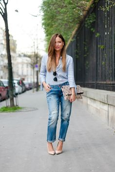 total look denim blog mode chemise bleu zara boyfriend jean