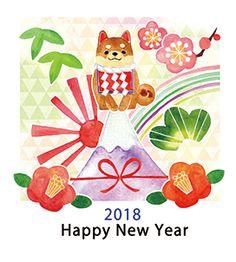 2018 Year of the Dog Shiba Inu Chinese New Year Chinese New Year Greeting, New Year Greeting Cards, Happy Chinese New Year, New Year Greetings, New Year Card, Photography Illustration, Love Illustration, Japanese Culture, Japanese Art
