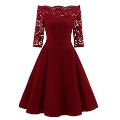 f9e0a60aa508 SUITEASY Women Off Shoulder Lace Skirt 34 Sleeve Cocktail Party Wedding  Dress Medium Red **