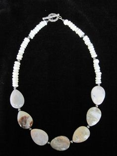 Quartz, hematite and shell necklace handmade by Jennifer Burke