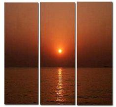 'Amber Sunset' 3 Piece Canvas #Art Set