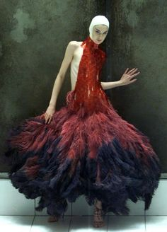 """Alexander McQueen, """"Erin O'Connor in Dress of Dyed Ostrich Feathers and Hand-painted Microscopic Slides"""" (""""Savage Beauty"""") on ArtStack #alexander-mcqueen #art"""