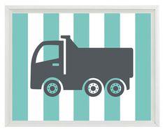 grey + aqua construction truck art print via Etsy