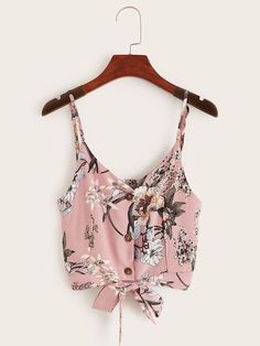 To find out about the Floral Print Button Through Knot Hem Cami Top at SHEIN, part of our latest Tank Tops & Camis ready to shop online today! Teen Fashion, Fashion News, Fashion Outfits, Cute Tank Tops, Cami Tops, Pretty Outfits, Cute Outfits, Crop Top Designs, Pretty Shirts