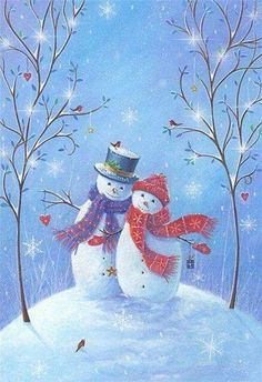 Snowman couple by Sarah Summers Christmas Scenes, Vintage Christmas Cards, Christmas Pictures, Christmas Snowman, Winter Christmas, Christmas Crafts, Christmas Ornaments, Merry Christmas, Illustration Noel