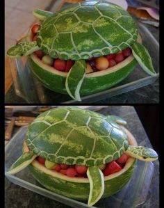 The most CREATIVE Watermelon Ideas! -  http://recipesheaven.com/the-most-creative-watermelon-ideas - Here are a BUNCH of amazing watermelon ideas  that you are sure to love!  Perfect for Summer and something the kids and adults will BOTH love!   WATERMELON SEA TURTLE …what a fun party idea & looks easy to make!  Watermelon Basket! pretty simple to put together and SO cute!  Watermelon Beach Bucket is ultra adorable!  Watermelon Hedgehog!  Baby Shower Fruit Bassinet