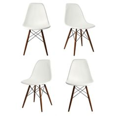 Set of 4 Eames Style DSW Molded White Plastic Dining Shell Chair with Dark Walnut Wood Eiffel Legs