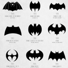 """The Evolution of the Batman Logo by Cathryn Lavery    Cathryn Lavery has pieced together a poster documenting the evolution of the Batman logo spanning over 72 years from 1940 to 2012 to map the transformation of a timeless hero. Lavery says:        It was tricky deciding which logos to feature as some were on the bat suit and others were the comic and promotional logos."""""""