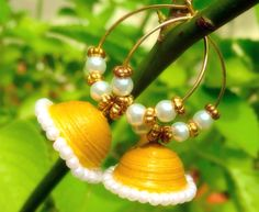 Yellow colour quilled jhumkas