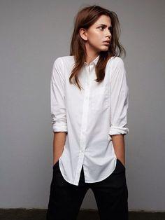 classic white button down shirt & black pants #style #fashion #workwear