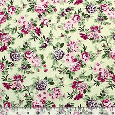 Burgundy Pink Floral on Meadow Green Modal Cotton Jersey Blend Knit Fabric