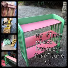 Repurposed cot/crib into shelves. links to picture only, use for inspiration and guidance