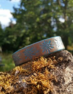 Leather Cuff Sun Bracelet Turquoise Brown by LeatherVision on Etsy