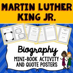 This easy to use Martin Luther King Jr. printable biography mini-book and famous quotes poster set is available in both color and b/w options, and is useful for both independent and group activities. This is the perfect tool to encourage a wide range of thinking and creativity among students, connecting history with the present day.