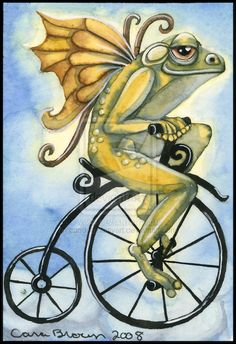 This dreamy, surreal winged frog fairy on an antique bicycle cruising through the clouds is an ACEO watercolor by pagan - fantasy - fairy artist Cara Br. Winged Frog Fairy on Bicycle Funny Frogs, Cute Frogs, Kermit, Frog Pictures, Frog Pics, Frog Illustration, Frog Tattoos, Antique Bicycles, Frog Crafts